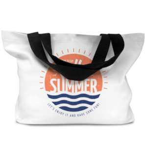 Beach / Shopper Bag with Black Handles