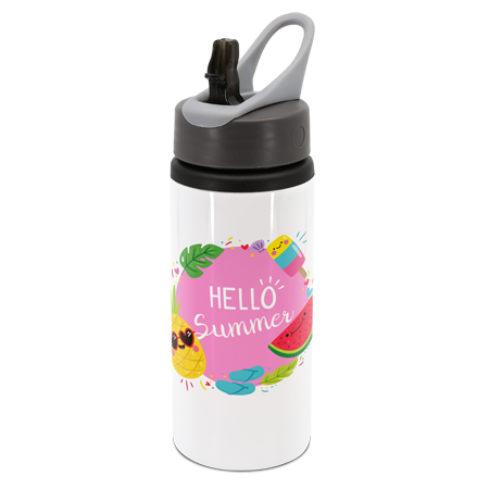 White Drink Bottle with Handle 22oz